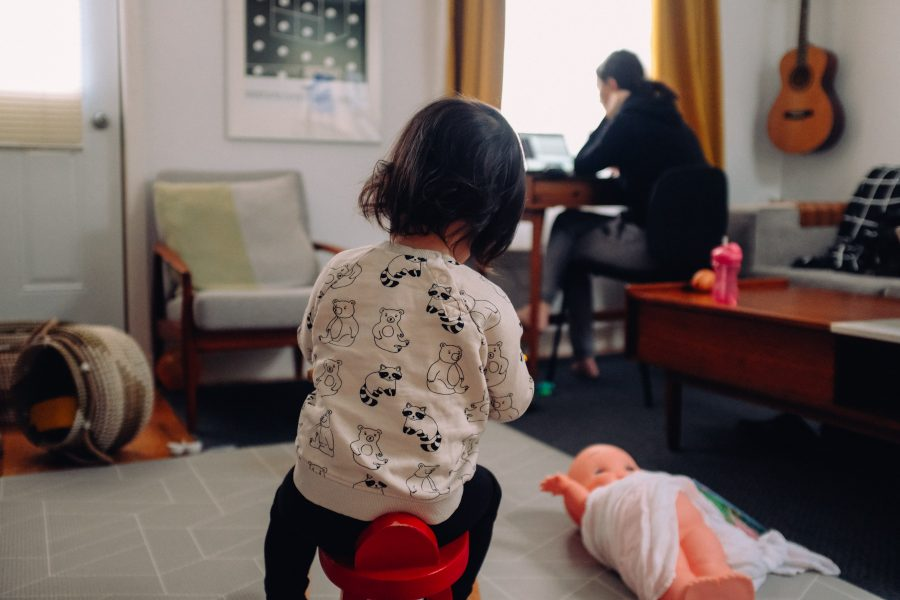 2020 working from home scene on Zoom with children