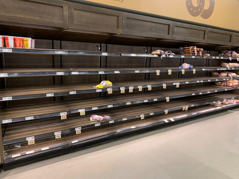 Empty supermarket shelves during the pandemic